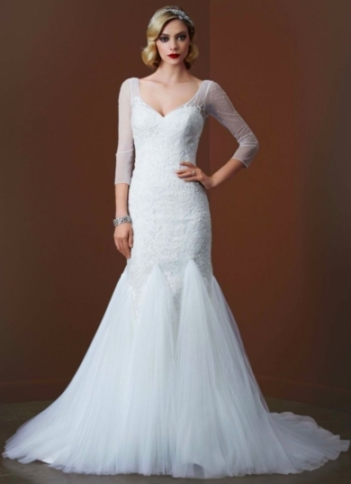 3/4 Sleeve Lace Trumpet Gown with Godet Skirt
