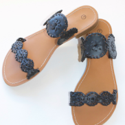 Stepping Out in the Sun Sandals (Black)