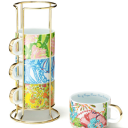 Ceramic Mugs with Gold Caddy {Set of 4} ($30)